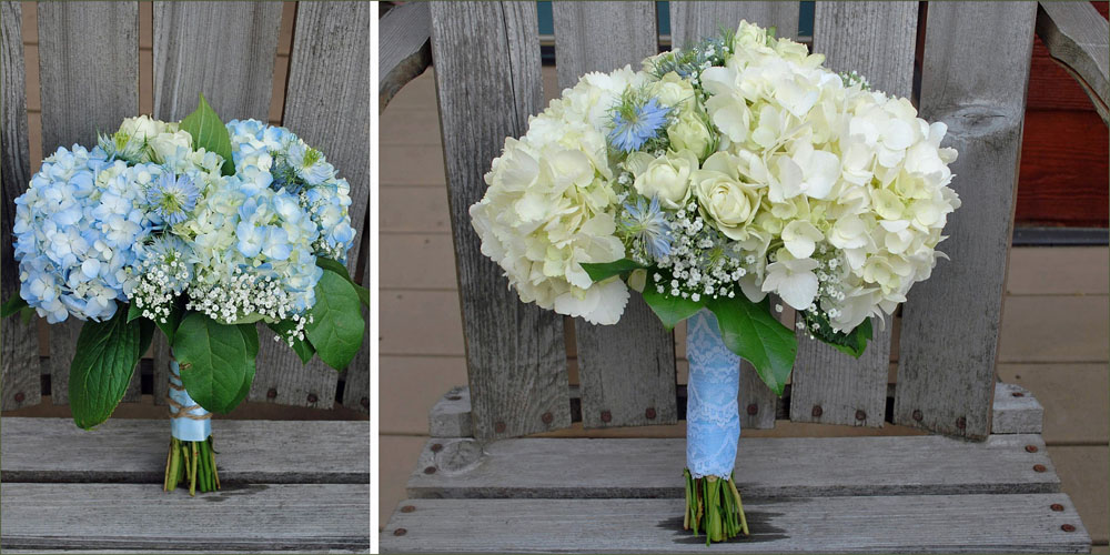 Coeurd'Alene, Sandpoint white and blue hydrangia wedding bouquets