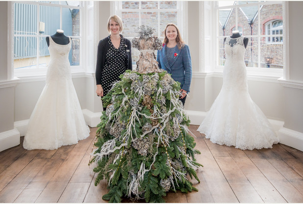 Amanda Kay and Anna Sawle with the wedding dress at Mansion House in Truro.