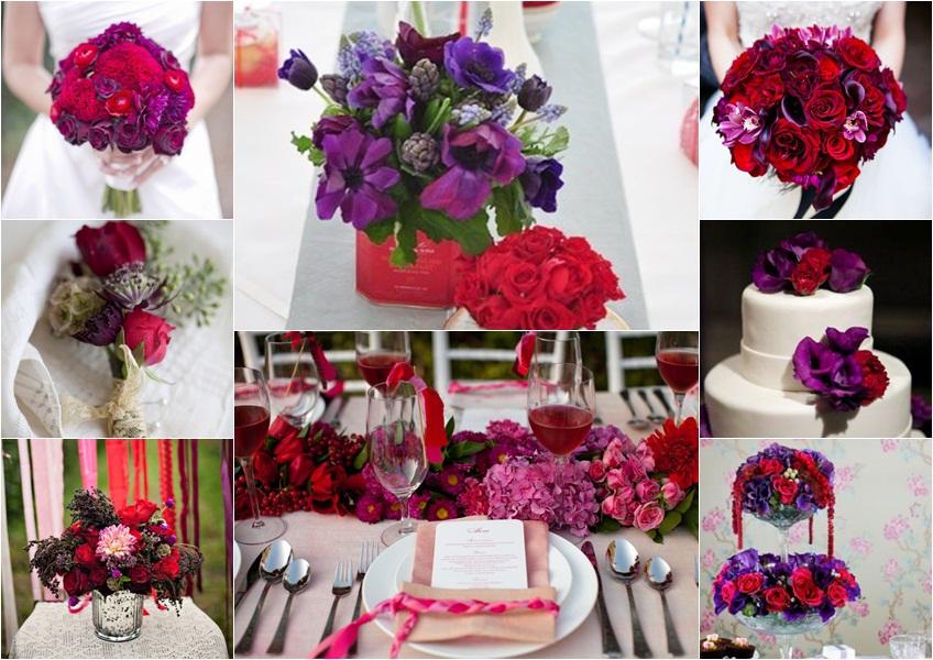 dekoracija u crvenoj i ljubicastoj boji