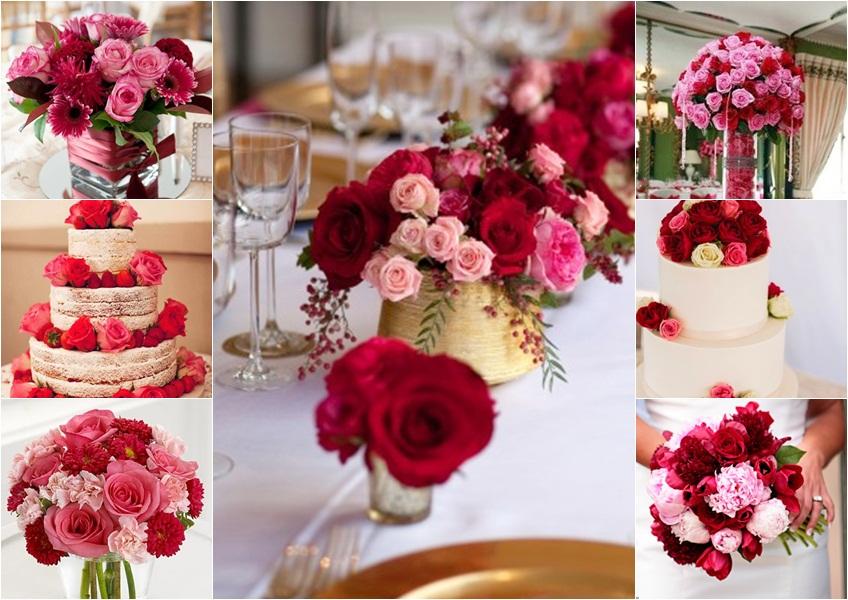 dekoracija u crvenoj i roze boji