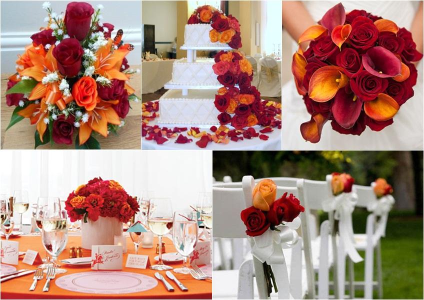 dekoracija u crvenoj i narandzastoj boji