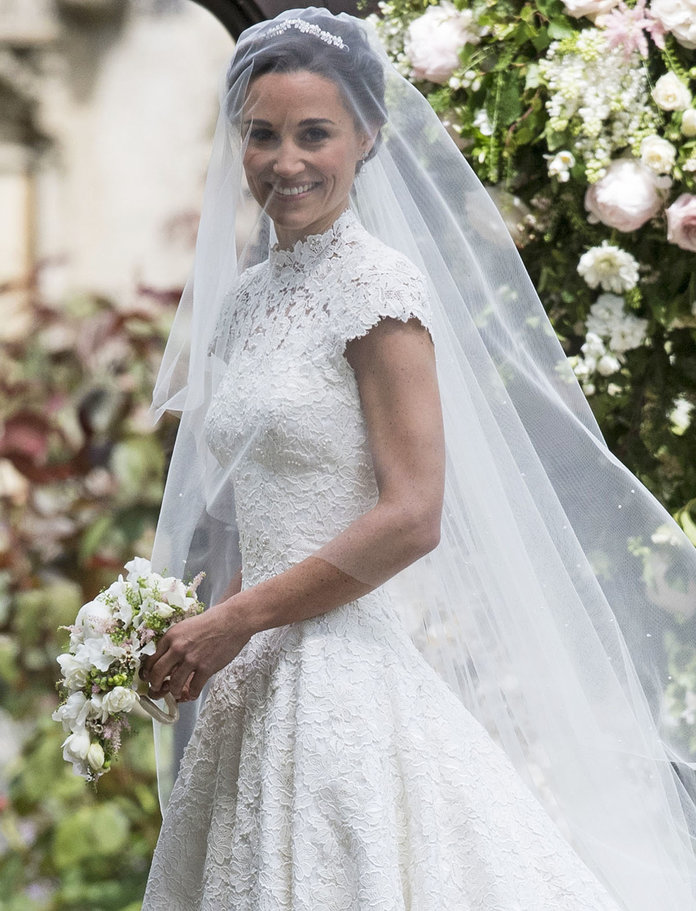ENGLEFIELD GREEN, ENGLAND - MAY 20: Pippa Middleton arrives for her wedding to James Matthews at St Mark's Church on May 20, 2017 in Englefield Green, England. (Photo by UK Press Pool/UK Press via Getty Images)